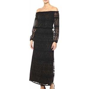 NWT! Nine West Black/Gold Peasant Maxi Dress.
